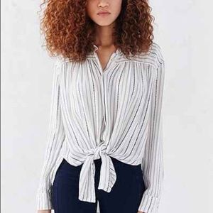 UO BDG striped tie front button down shirt